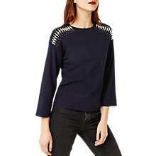 Buy Warehouse Pearl Shoulder Jumper, Navy Online at johnlewis.com