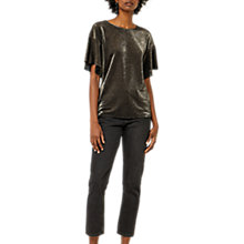 Buy Warehouse Metallic Frill Sleeve Blouse, Gold Online at johnlewis.com