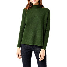 Buy Warehouse Boxy Funnel Neck Ribbed Jumper, Dark Green Online at johnlewis.com