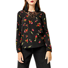 Buy Warehouse Snowdrop Lace Yoke Top, Black Online at johnlewis.com