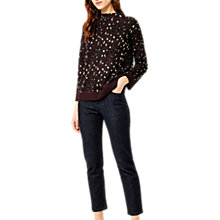 Buy Warehouse Sparkle Animal Print Funnel Neck Jumper, Berry Online at johnlewis.com