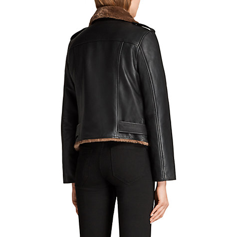 Buy AllSaints Balfern Faux Fur Leather Biker Jacket, Black/Toffee Brown Online at johnlewis.com