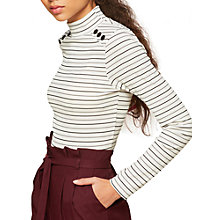 Buy Miss Selfridge Petite Stripe Button Roll Neck Top, White Online at johnlewis.com