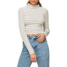 Buy Miss Selfridge Petite Ruched Stripe Roll Neck T-Shirt, White Online at johnlewis.com