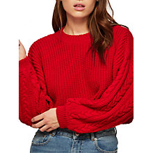 Buy Miss Selfridge Petite Crew Cable Jumper, Red Online at johnlewis.com