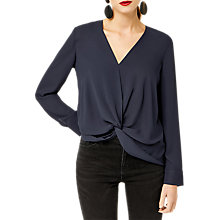 Buy Warehouse Knot Front Long Sleeved Top, Navy Online at johnlewis.com