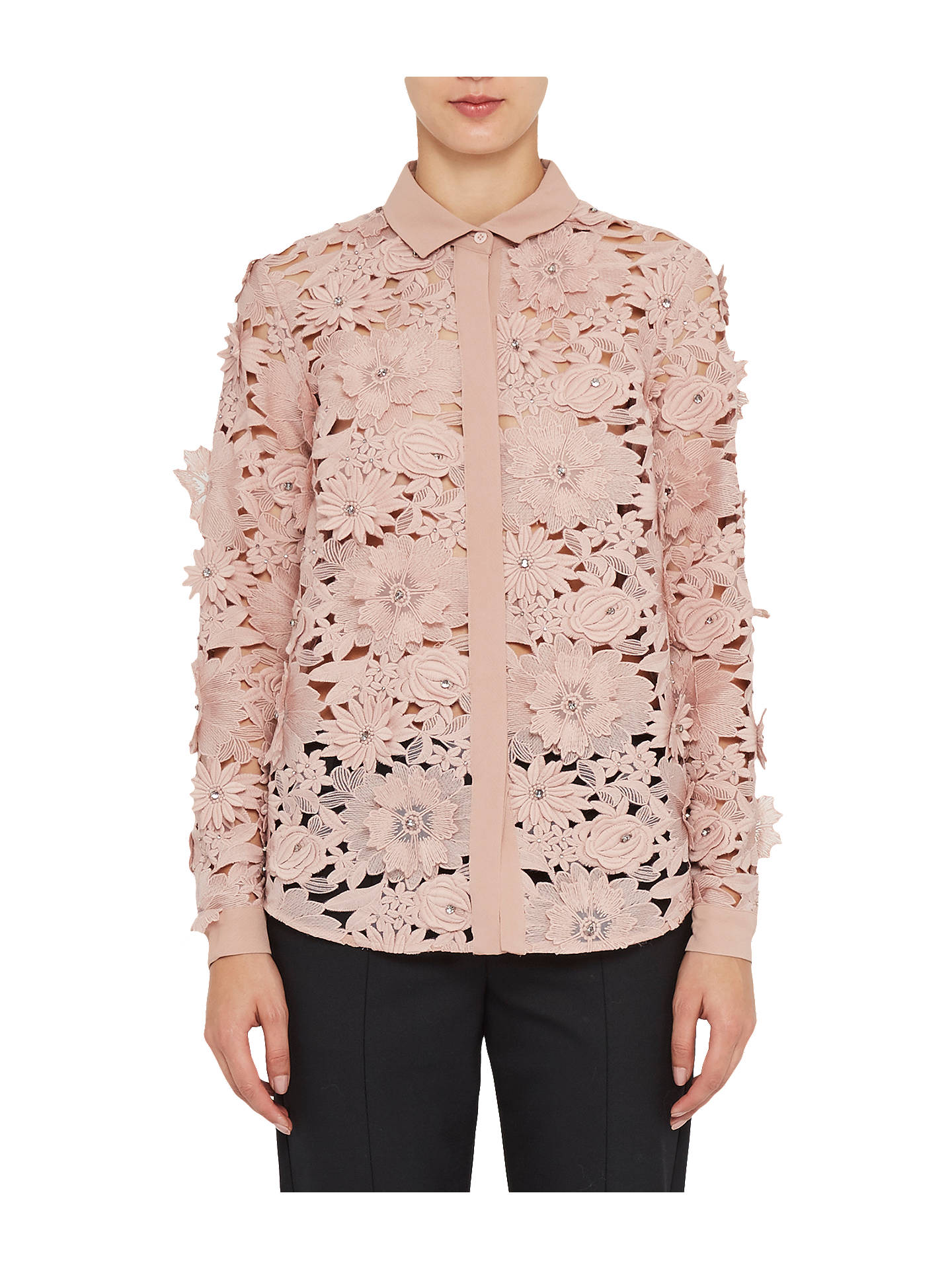 0346a466082 ... Buy French Connection Manzoni Lace Long Sleeve Shirt, Cinder Rose, 6  Online at johnlewis ...