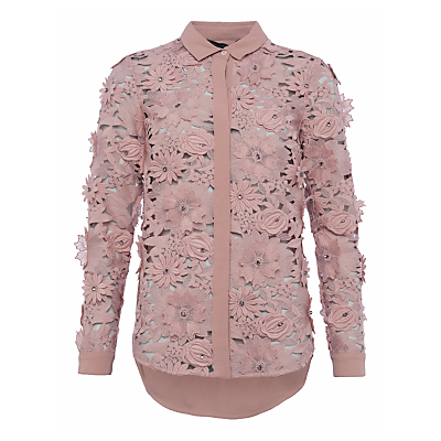 French Connection Manzoni Lace Long Sleeve Shirt, Cinder Rose
