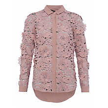 Buy French Connection Manzoni Lace Long Sleeve Shirt, Cinder Rose Online at johnlewis.com