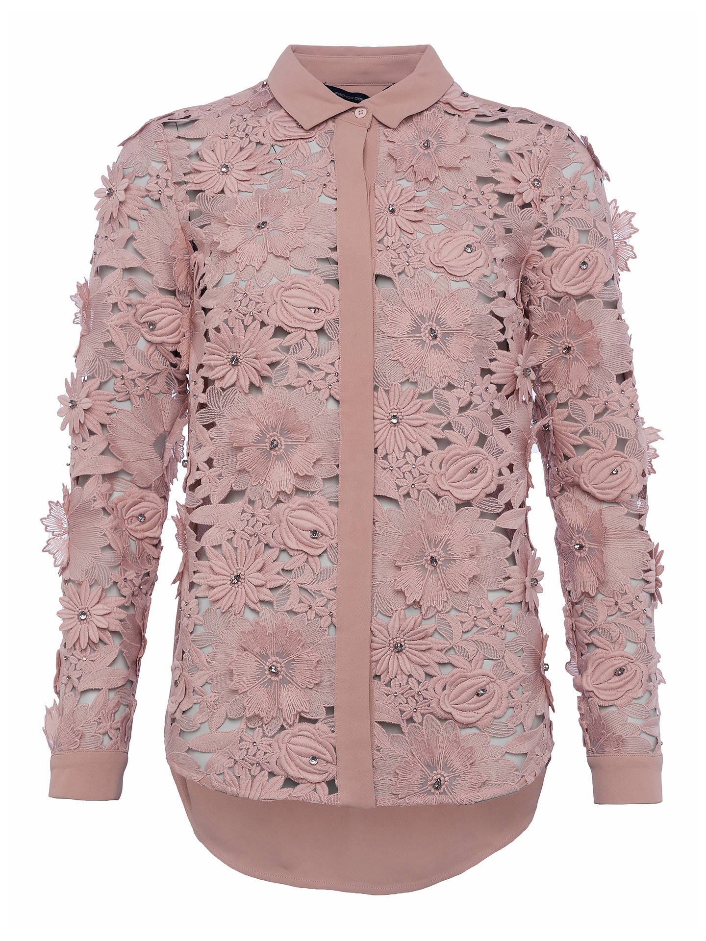 dbd7eb4ebb8 Buy French Connection Manzoni Lace Long Sleeve Shirt, Cinder Rose, 6 Online  at johnlewis ...