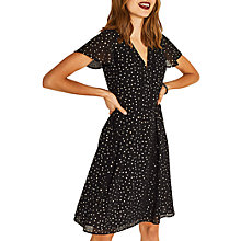 Buy Oasis Glitter Angel Sleeve Skater Dress, Black Online at johnlewis.com