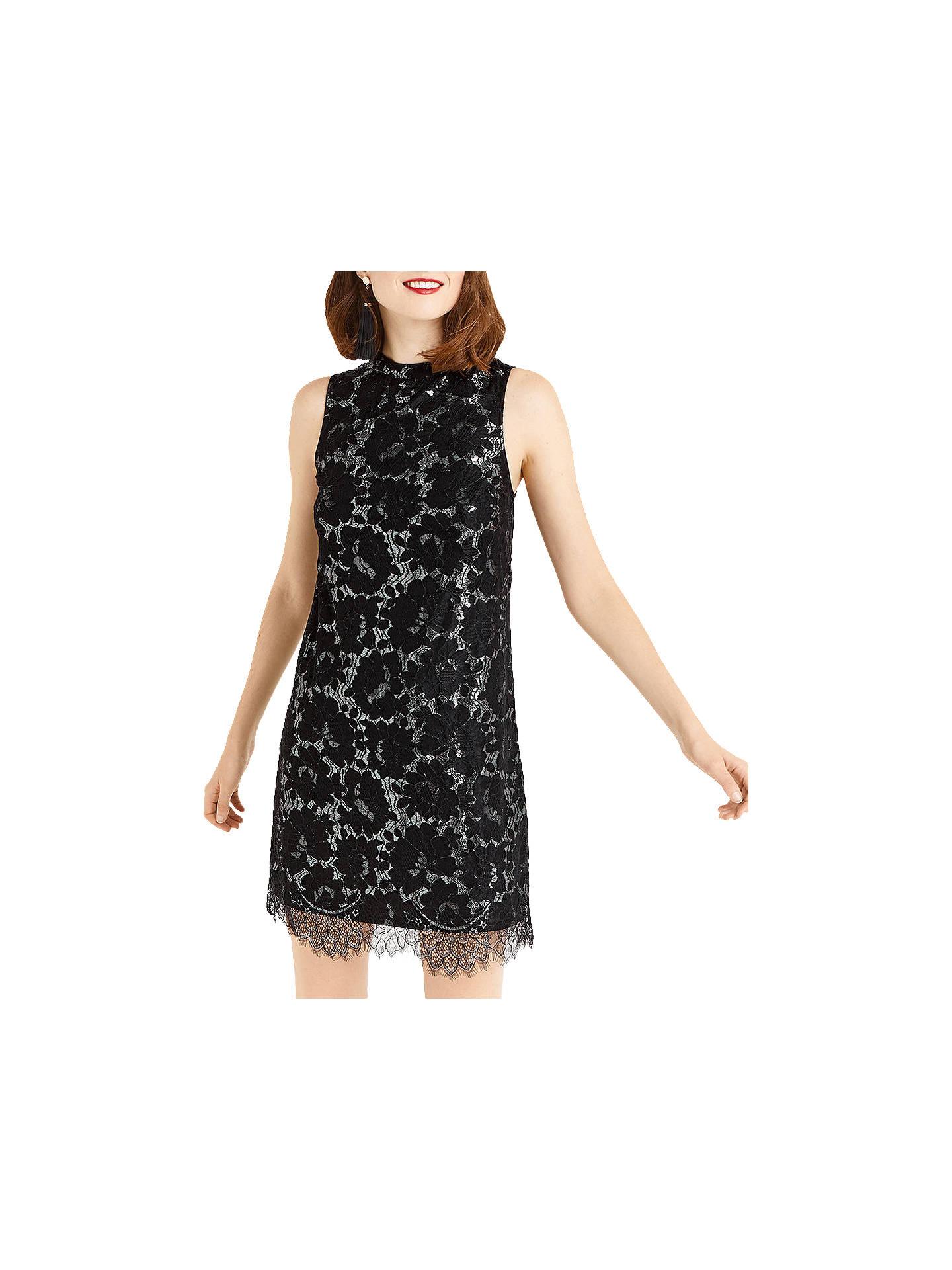 ded7c6afae0e Buy Oasis Metallic Lace Skater Dress, Black/Multi, 6 Online at johnlewis.