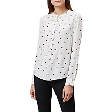 Buy Hobbs Charlie Polka Dot Shirt, Ivory/Navy Online at johnlewis.com