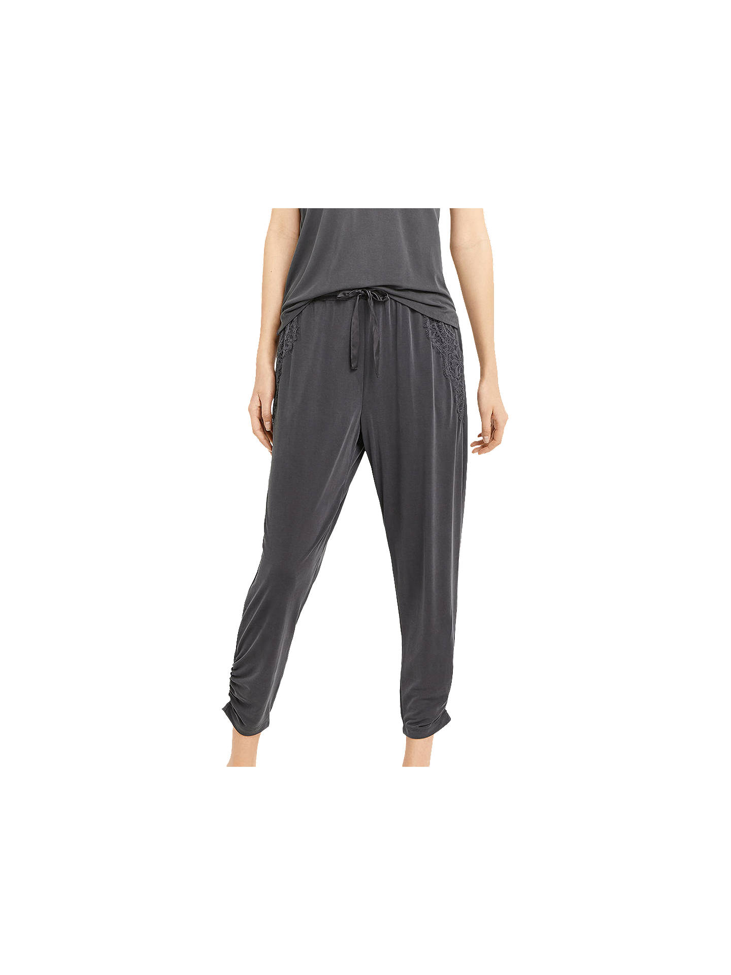 BuyOasis Soft Lace Trim Joggers, Dark Grey, XS Online at johnlewis.com