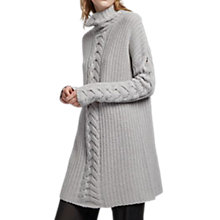Buy French Connection Cable Knit High Neck Jumper, Oyster Melange Online at johnlewis.com