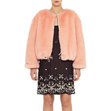 Buy French Connection Leonie Fur Jacket, Peach Fizz Online at johnlewis.com