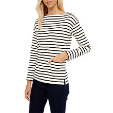 Buy Jaeger Patch Pocket Stripe Top, Navy/White Online at johnlewis.com