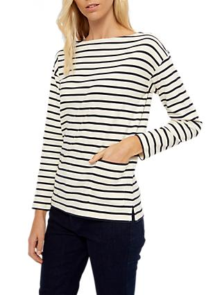 Jaeger Patch Pocket Stripe Top, Navy/White