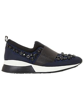 Dune Elisha Embellished Slip On Trainers, Navy