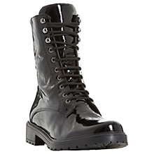 Buy Dune Rayko Lace Up Calf Boots, Black Patent Leather Online at johnlewis.com
