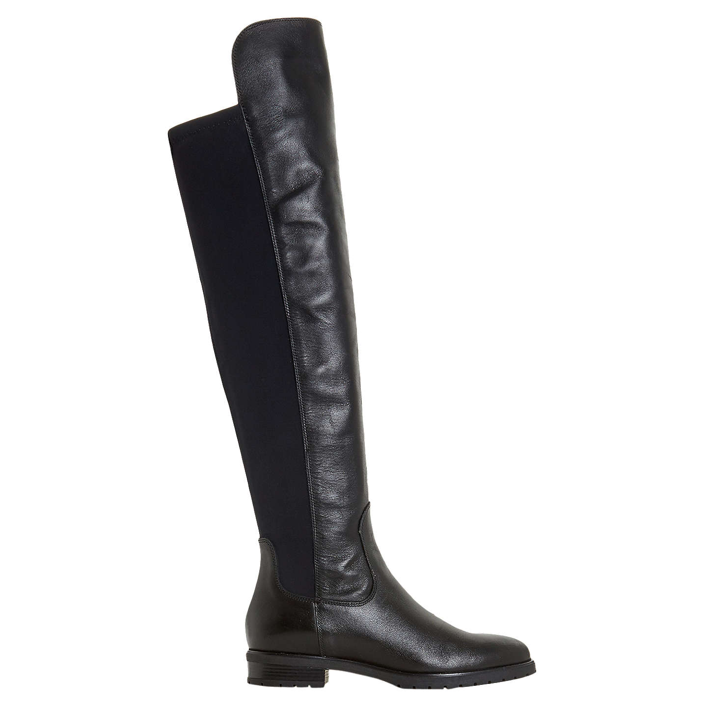 BuyDune Tarrin Over the Knee Boots, Black Leather, 3 Online at johnlewis.com