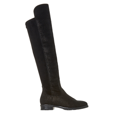 Dune Tarrin Over the Knee Boots, Black Textured Leather