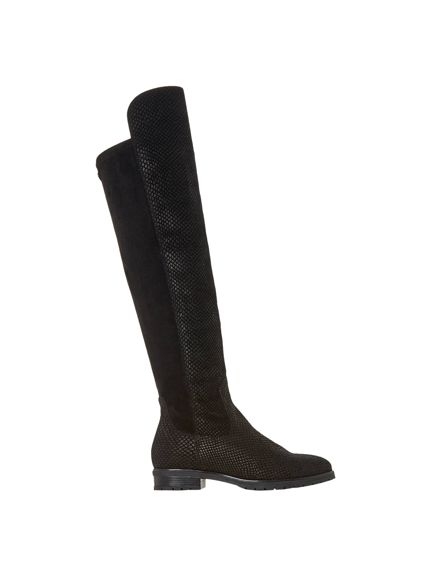 BuyDune Tarrin Over the Knee Boots, Black Textured Leather, 3 Online at johnlewis.com