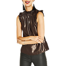 Buy Oasis Foil Pie Crust Neck Shell Top, Gold Online at johnlewis.com
