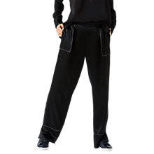 Buy Jigsaw Stitch Detail Wide Leg Trousers, Black Online at johnlewis.com