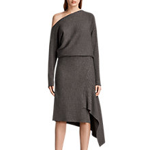 Buy AllSaints Eva Merino Wool Asymmetric Dress, Doe Marl Online at johnlewis.com