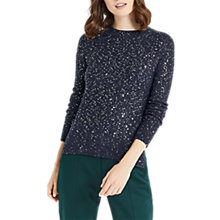 Buy Oasis The Sequin Perfect Crew Jumper, Navy Online at johnlewis.com