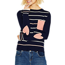 Buy Oasis Heart Detail Striped Jumper, Navy Online at johnlewis.com