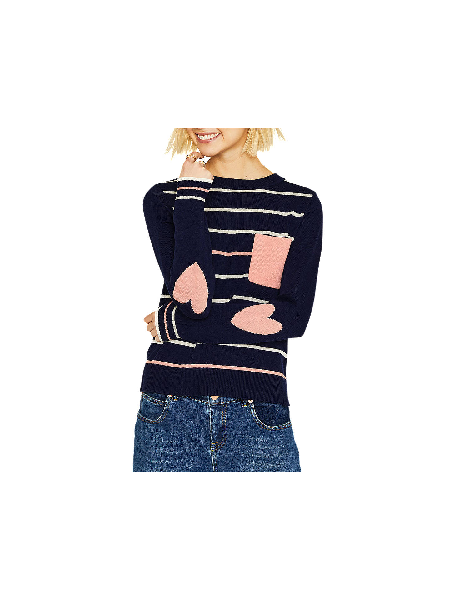 BuyOasis Heart Detail Striped Jumper, Navy, XS Online at johnlewis.com