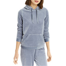 Buy Oasis Velour Hooded Sweatshirt, Soft Blue Online at johnlewis.com
