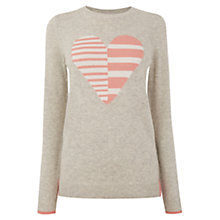 Buy Oasis Stripe Heart Jumper, Mid Grey Online at johnlewis.com