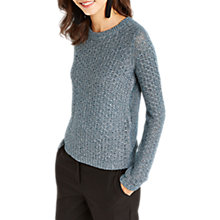 Buy Oasis Textured Rib Trim Jumper, Pale Green Online at johnlewis.com