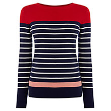 Buy Oasis Colourblock Striped Jumper, Navy Online at johnlewis.com