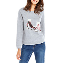Buy Oasis Christmas Ice Skater Sweatshirt, Pale Grey Online at johnlewis.com