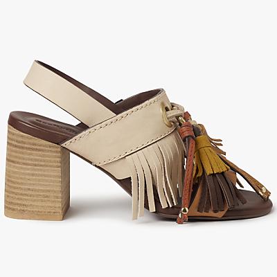 See by Chloé Tania Fringe Block Heel Sandals, Beige