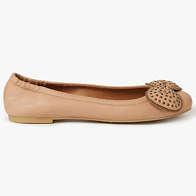 See by Chloé Clara Bow Ball Trim Ballerina Pumps, Nude