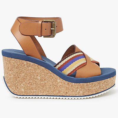 See by Chloé Mina Cork Wedge Sandals, Tan