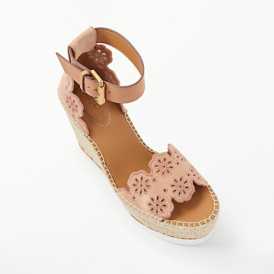 See by Chloé Glyn Cut Out Floral Wedge Heel Sandals, Pink Suede