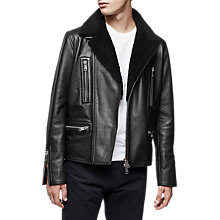 Buy Reiss Axel Shearling Collar Leather Biker Jacket, Black Online at johnlewis.com