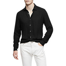 Buy Reiss Eddie Polka Dot Regular Fit Shirt, Black Online at johnlewis.com