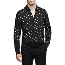 Buy Reiss Provost Floral Polka Dot Shirt, Black Online at johnlewis.com