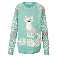 Buy Fat Face Girls' Arctic Fox Crew Neck Jumper, Aqua Online at johnlewis.com