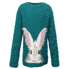 Buy Fat Face Girls' Bunny Crew Neck Jumper, Teal Online at johnlewis.com