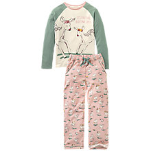 Buy Fat Face Children's Oh Deer Jersey Pyjamas, Pink/Green Online at johnlewis.com