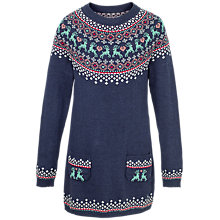Buy Fat Face Girls' Fair Isle Knitted Dress, Light Navy Online at johnlewis.com