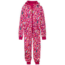 Buy Fat Face Children's Festivewear Onesie, Raspberry Online at johnlewis.com